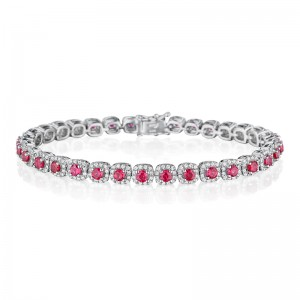 Classic Ruby and Diamond Tennis Bracelet