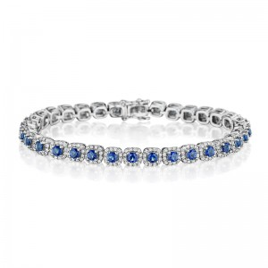 Classic Sapphire and Diamond Tennis Bracelet