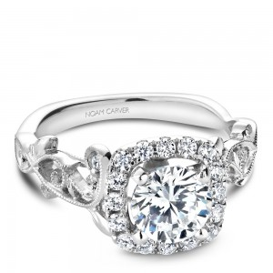 NC Sample 14K Wg .35Ctw Setting W/ Halo To Fit 1Ct Rd