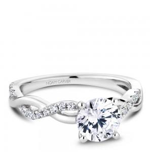 NC Sample 14K Wg Twist W/ .19Ctw Diamond Setting To Fit A 1.00Ct Rd