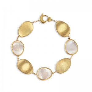 Marco Bicego 18K Yellow Gold Lunaria Collection Bracelet With White Mother Of Pearl