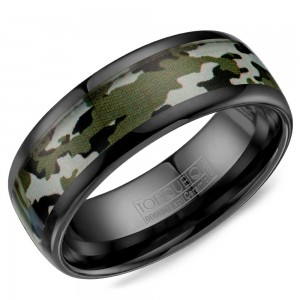 A black ceramic Torque band with a camo pattern inlay.