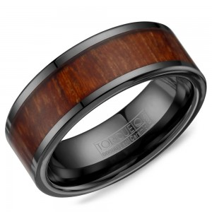 A black ceramic Torque band with a wood pattern inlay.