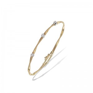 Marco Bicego 18K Yellow Gold Marrakech Collection 1-Strand Stackable Bangle Bracelet With 3 Diamonds .15Ctw 7