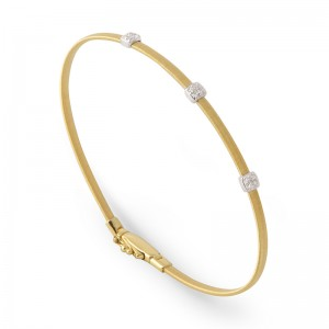 Marco Bicego 18K Yellow Gold Masai Collection Bracelet With 3 Diamond Pave With .09Ctw 6.75