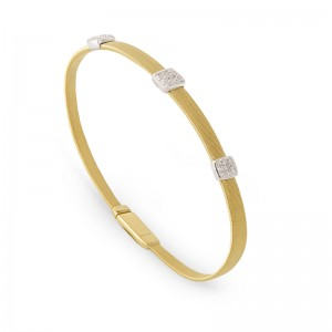 Marco Bicego 18K Yellow Gold Masai Collection Three Station Diamond Bracelet With .31Ctw. 6.75
