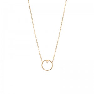 Zoe Chicco medium single diamond circle necklace