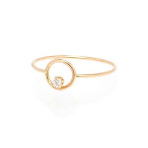 Zoe Chicco small single diamond circle ring
