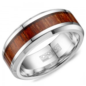 A white cobalt Torque band with a wood pattern inlay.