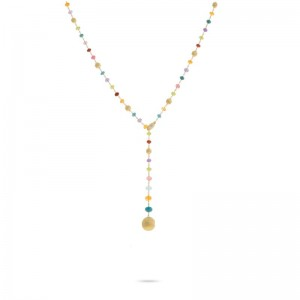 Marco Bicego 18K Yellow Gold Africa Collection  Multi-Colored Gemstone Lariat
