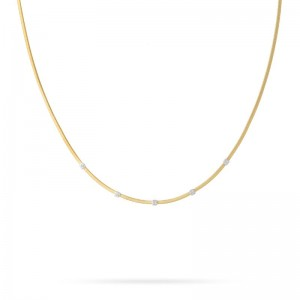 Marco Bicego 18K Yellow Gold Masai Collection Necklace With 5 Pave Diamonds .15Ctw