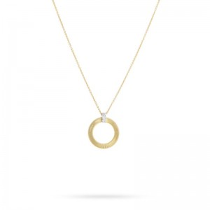 Marco Bicego 18K Yellow Gold Masai Collection Small Circle Necklace With Diamonds .09Ctw
