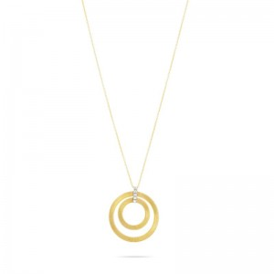 Marco Bicego 18K Yellow Gold Masai Collection Double Circle Necklace With Diamonds .15Ctw
