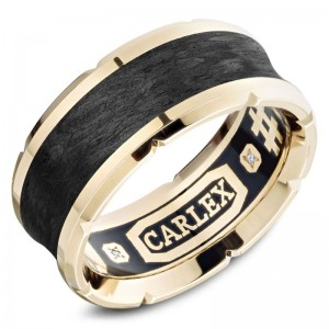 Car 18K Yg & Black Carbon Inlay 9.5Mm Sandpaper  & High Polish Edges Mens Band Size 9.75