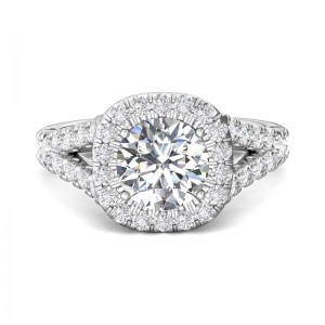 FlyerFit® 14K White Gold Split Shank Engagement Ring