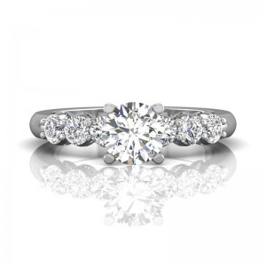 FlyerFit® 14K White Gold Channel/Shared Prong Engagement Ring