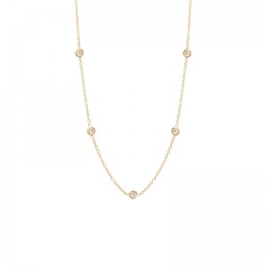Zoe Chicco 5 Floating Diamond Stations Necklace