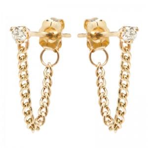 Zoe Chicco Prong Diamond Extra Small Curb Chain Stud Earrings