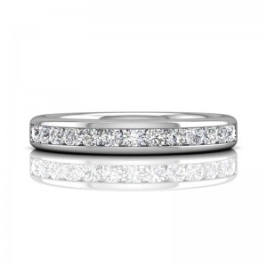 FlyerFit® 14K White Gold Channel Wedding Band