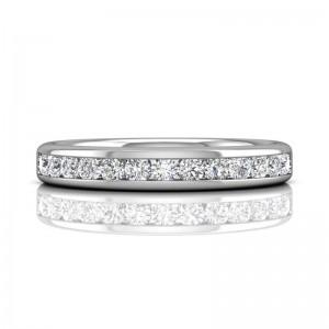 FlyerFit® 14K White Gold Channel Wedding Band