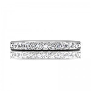 FlyerFit® 14K White Gold Micropave Bead Set Wedding Band
