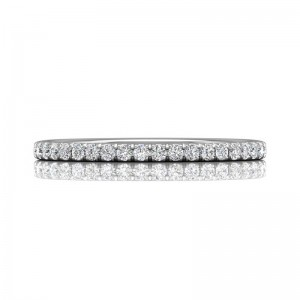 FlyerFit® 14K White Gold Micropave Cutdown Wedding Band