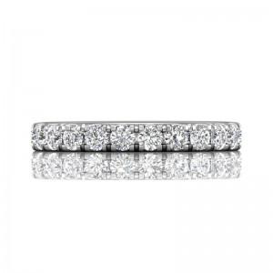 FlyerFit® 14K White Gold Micropave Cutdown Wedding Band