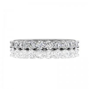 FlyerFit® 14K White Gold Shared Prong Wedding Band