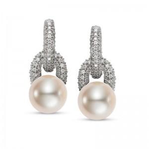 Mastoloni 9.5-10MM 18K WG .75CTW FWP & DIAMOND MULTIPURPOSE EARRINGS