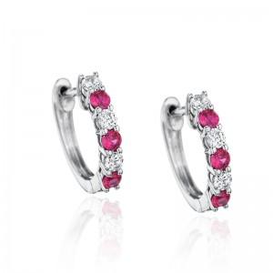 Bold Beauty Alternating Ruby and Diamond Hoops