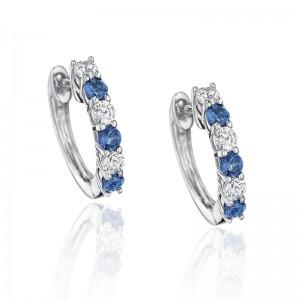 Bold Beauty Alternating Sapphire and Diamond Hoops
