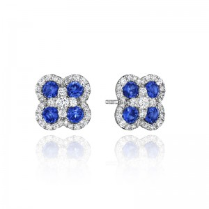 Endless Bliss Sapphire and Diamond Cluster Studs