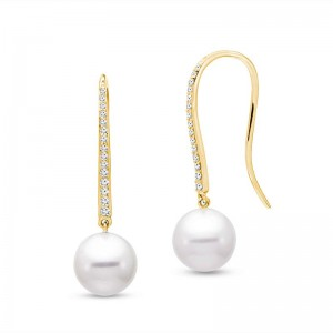 Mastoloni 14KYG 8.5-9MM PEARL DROP EARRINGS WITH .16CTW DIAMOND