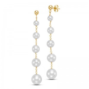 Mastoloni 14K YG 4-9MM FW PEARL 5-STATION DROP EARRINGS