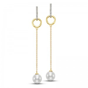 Mastoloni 7.5-8MM Freshwater Pearl Drop Earrings with Diamonds .10CTW