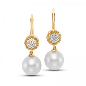 Mastoloni 14K YG 7-7.5MM CULTURED PEARL AND .10CTW DIAMOND EARRINGS