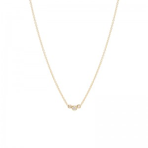 Zoe Chicco small 3 graduated curved diamond bezel necklace