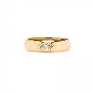Zoe Chicco Half Round Ring With Marquise Diamond