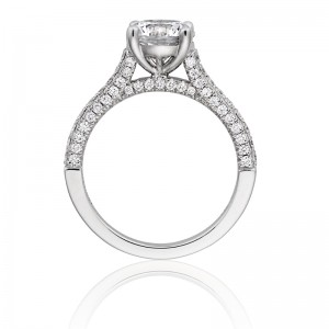 Henri Daussi semi mounting featuring a single line of diamonds on all three sides