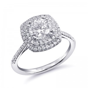 CD .30Ctw 14K Wg W/ Dbl Halo & Single Prong Fishtail For 1Ct Rb Center