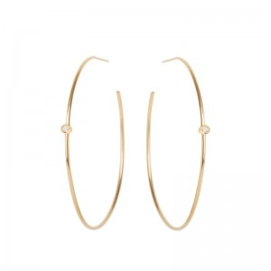 Zoe Chicco medium thin hoop earrings with 2 bezel set diamonds into the hoop