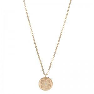 Zoe Chicco Medium Sunbeam Medallion On Small Square Oval Link Chain