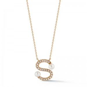 Dana Rebecca Pearl & Diamond Initial  Necklace