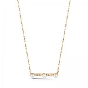 Dana Rebecca Pearl And Diamond Bar Necklace
