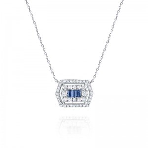 PD Collection Blue Sapphire & Diamond Mosaic Pendant Necklace