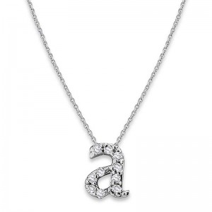 Bitty Diamond Initial Pendant A