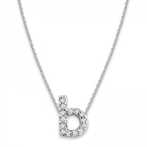 Bitty Diamond Initial Pendant B