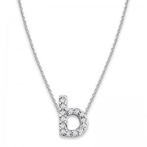 Bitty Diamond Initial Pendant B