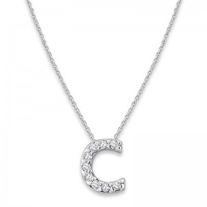 Bitty Diamond Initial Pendant C