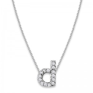 Bitty Diamond Initial Pendant D
